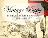 Etsy Shop Set - Custom Etsy Banner Template Set - DIY Vintage Poppy Etsy Shop Set & Social Media Etsy Shop Set