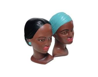 CLEARANCE Vintage Ceramic Busts - Vintage Chalkware Busts, Mid Century Modern, Ethnic Polynesian Head Busts, 1960's Eames Figurines Retro