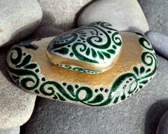 Enchanted Emerald Island / 2 Painted Rocks / Sandi Pike Foundas / Cape Cod Sea Stones