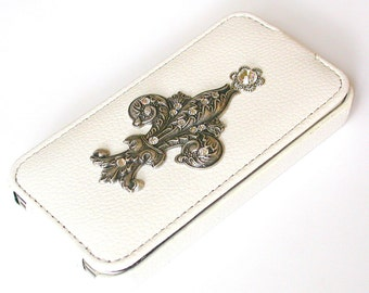 iPhone 4 and 4s White Leather Flip Case Victorian Silver Fleur de Lis and Swarovski Crystals iPhone Cover