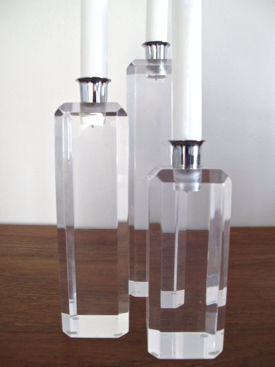 Ritts Astrolite Lucite Candle Holders
