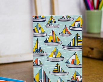 Sailing the Seas greetings card by Jessica Hogarth Designs. Coastal stationery, blank greetings card