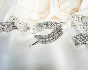 1950s Vintage Wedding  / Rhinestone Hair accessory - 3 sets / Bridal Party