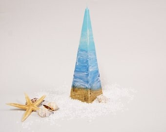 Nautical Candle Pyramid - Sky Sea and Dunes Hand Painted With Special Wax - Nautical Home Decor - Beach Cottage Decor - Marine Gift Idea