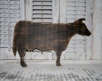 Wooden Cow Sign Wall Hanging Farmhouse Wall Decor Rustic Primitive Country decor