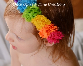 Bright Candy Rainbow Birthday Mini Shabby Flower Headband - Birthday, Photo Prop - Newborn Infant Baby Child Girls Hair Bow Accessory Clip