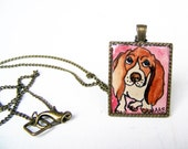 Basset Hound Necklace - Hand Painted Art Jewelry Pendant