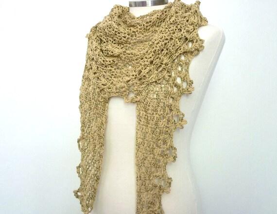 Shawlette, scarf, shawl in beige gold, sparkly shawl, lacy crochet scarf,