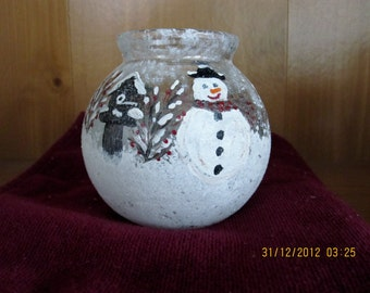Candle holder Votive candle/vase Glitter Snowman Bird house  hand painted