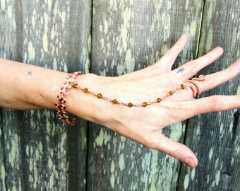 Beaded Egyptian Link Hand Chain with Adjustable Wire Ring--Spiral Slave Bracelet Beaded Hand Flower Hand Harness Wire Wrapped
