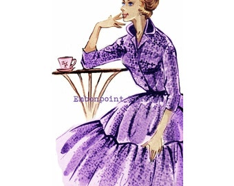 Vintage Sewing Pattern 1956 Dress PDF Plus Size (or any size)  - Pattern No 10 Leticia