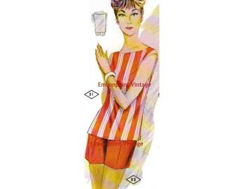 Plus Size (or any size) Vintage 1969 Shorts Pattern - PDF - Pattern No 52 Raquel Shorts
