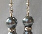 Earrings Grey Pearl with Crystal Rondell Drop Earrings