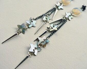 Shooting Star Opalite Dangle Earrings. Opalite, spike and star earrings.
