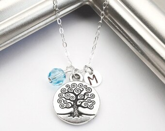 Personalized Birthstone Necklace, Silver Tree of Life Necklace, New Mom Necklace, Birthstone Initial Jewelry, Mothers Necklace, Family Tree