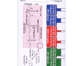 Ekg Ruler Badge Pocket Card Vertical for Nurse Paramedic EMT for ID Badge Clip Strap or Reel Ecg
