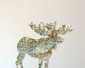 MAP ART // A French Moose // handcut from a vintage map of France