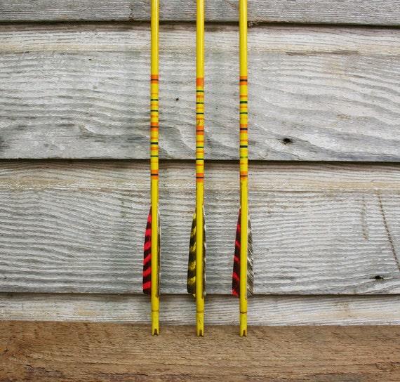 Trio of Vintage Wooden Arrows -- Lot of Three Bright Yellow Arrows