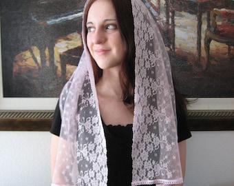 Chapel Veil RCVM1 - Pink Lace Rectangular Chapel Veil Headcovering