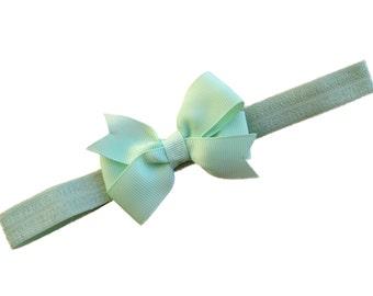 Pastel green baby headband  - green bow headband, baby headbands, baby headband bows, baby girl headbands, newborn headbands, baby bows