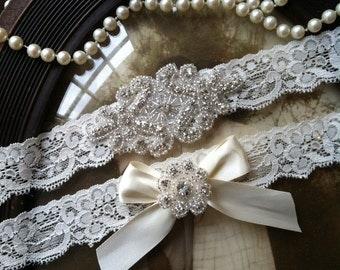 SALE-Wedding Garter - Ivory Lace Garter Set - Rhinestone Garter - Applique Garter - Vintage - Bridal Garter - Vintage Garter - Toss Garter