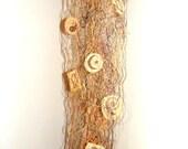 Scarf Fiber Art Earth Tone Brown Gold Spiritual Symbols Fiber Art OOAK Woodland Style Boho Wearable Fiberart Holiday Fashion