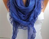 NEW- Cobalt Blue Scarf  Shawl - DIDUCI