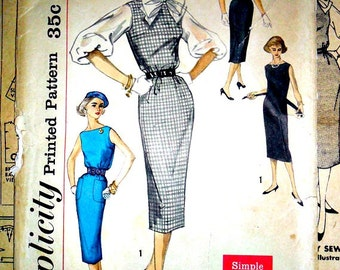 Sheath Dress Wiggle Dress Jumper and Blouse Mad Men Retro 1950's Answer Dress Vintage Sewing Pattern Simplicity 2390 Size 16