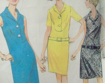Slim Dress with Front Yoke Pattern Vintage McCalls 8690 1960s  Size 12 Bust 32 Cut Pattern