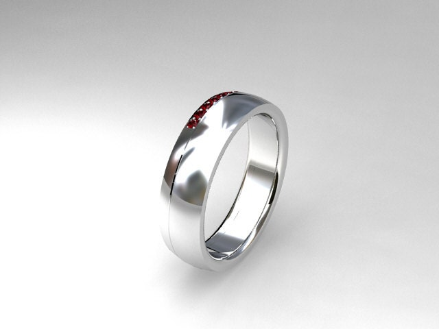 Ruby Ring White Gold Wedding Band Mens Ruby By TorkkeliJewellery
