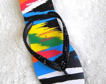 Custom Havaianas flat MISSONI Flip Flops Collaboration W US 10/11 Multi Color Rainbow w/ Swarovski Crystal Jet Black Ladies Thong Beach Shoe
