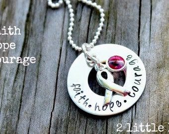 Cancer Awareness Jewelry, Inspirational  ~ Handstamped Sterling Silver Faith - Hope - Courage Infinity Awareness Necklace
