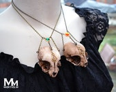 Animal-friendly Queen of Sheba kitten cat skull necklace pendant with Swarovski crystal Mortiis.M