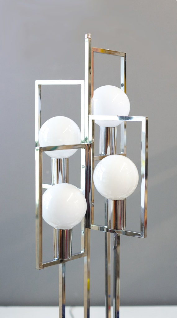 Vintage glam chrome four globe floor lamp by bricoleurstudio for Retro globe floor lamp