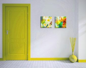 Set of 2 floral art canvas prints - yellow orange green spring flowers on canvas - housewarming gift idea