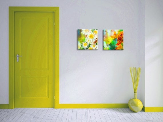 Set of 2 floral art canvas prints - yellow orange green spring flowers on canvas - housewarming gift idea