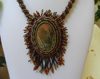 Cherry Creek Jasper, Beaded Embroidery Fringed Necklace