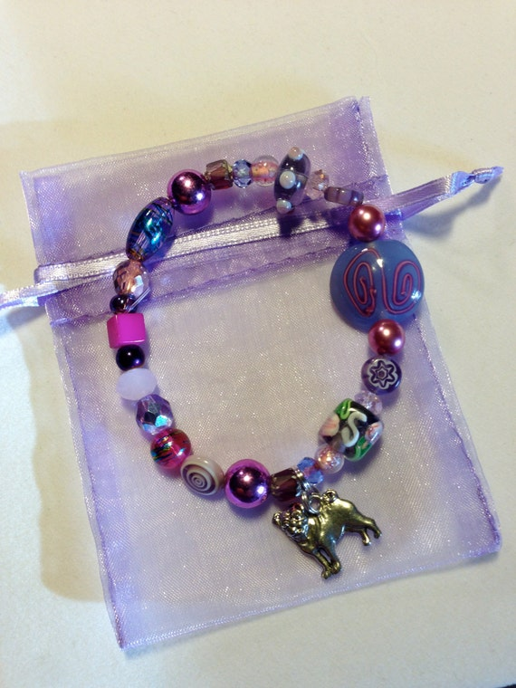 PUG RESCUE Beaded CHARM Bracelet-Made to Order-We have thousands of beads so choose any color combination and we'll make yours one of a kind