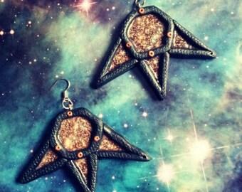 SALE Cosmic hexagon star earrings