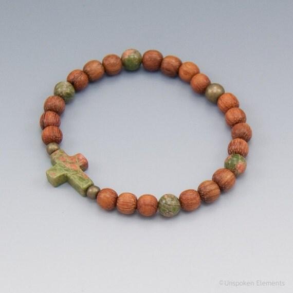 Sideways Cross Beaded Prayer Bracelet - Unakite and Wood - Christian Jewelry - Friendship Gift - Item # 304
