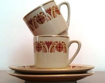 Vintage Espresso Cups, Set Of Two China Espresso Cups and Saucers Gray, Red, Gold