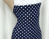 Gorgeous Navy Blue Polka Dot & Lace  Mini w/ Rhinestone Accents, Halter Style SZM