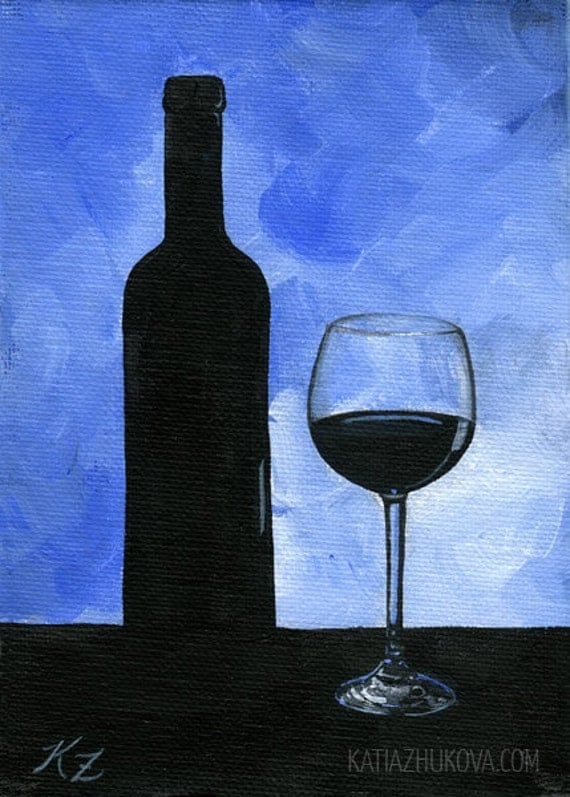 Original framed acrylic painting on canvas board 39 wine for How to paint a wine glass with acrylics