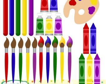 Art supplies clip art, 26 clipart designs. INSTANT DOWNLOAD for Personal and commercial use.