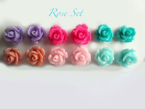 Rose Earrings Etsy Rose Earring Set