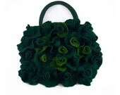 Felted Bag Green Purse Roses Bag Roses Purse Jade Handbag Art Bag Nunofelt Nuno felt Silk handmade fairy floral fantasy Fiber Art boho