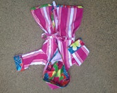 Cover Up w/ Hood Bath Beach Robe Child 3T-4T Toddler - Made from Bright Pink Stripe Velour Beach Towel with Tropical Floral Trim