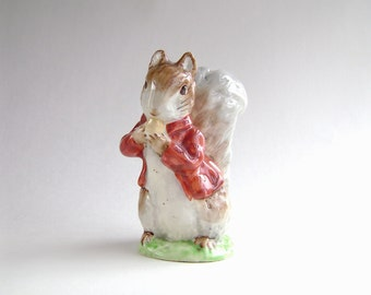 Beatrix Potter, Timmy Tiptoes, Beswick, Gold Oval Stamp, Squirrel, Porcelain, Warne, Collectible, Easter, Cute