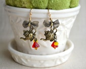 Tea Pot Earrings Brass Bows Charm Earrings Vintage Style Shabby Chic Dangle Earrings Women Christmas