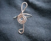 Treble Clef Ring Silver Wire Wrapped  - Adjustable